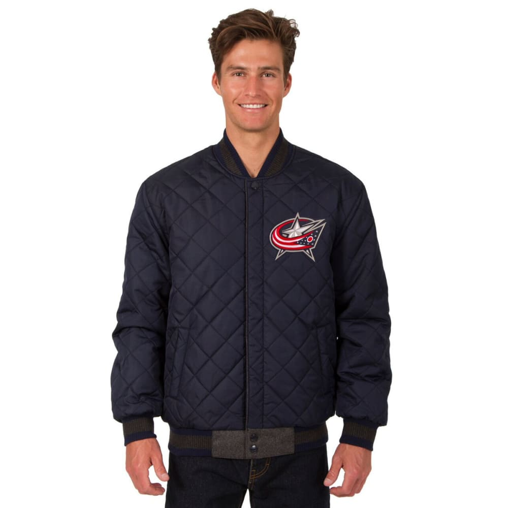 COLUMBUS BLUE JACKETS Men's Wool and Leather Reversible One Logo Jacket - CHARCOAL -NAVY