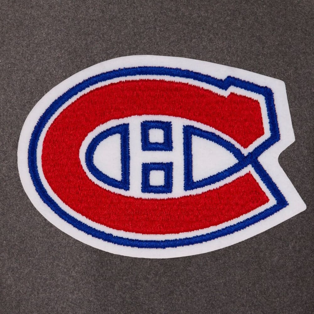 MONTREAL CANADIENS Men's Wool and Leather Reversible One Logo Jacket - CHARCOAL -BLACK