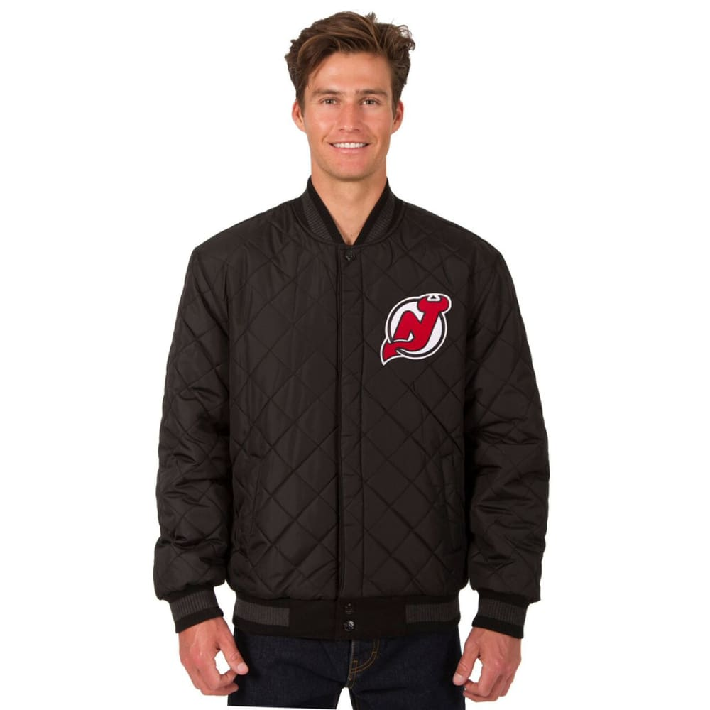 NEW JERSEY DEVILS Men's Wool and Leather Reversible One Logo Jacket - CHARCOAL -BLACK