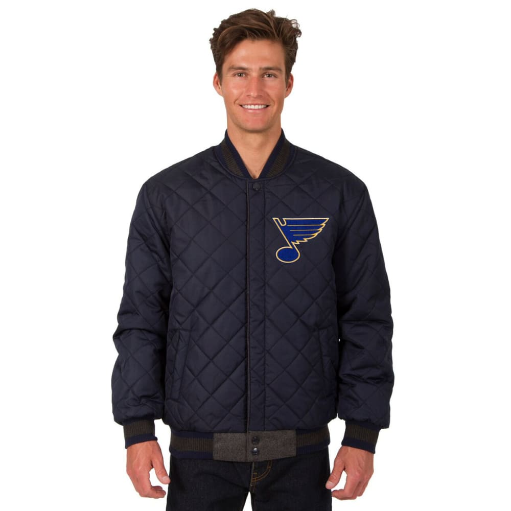 ST. LOUIS BLUES Men's Wool and Leather Reversible One Logo Jacket - CHARCOAL -NAVY