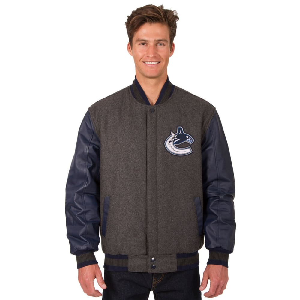 VANCOUVER CANUCKS Men's Wool and Leather Reversible One Logo Jacket - CHARCOAL -NAVY
