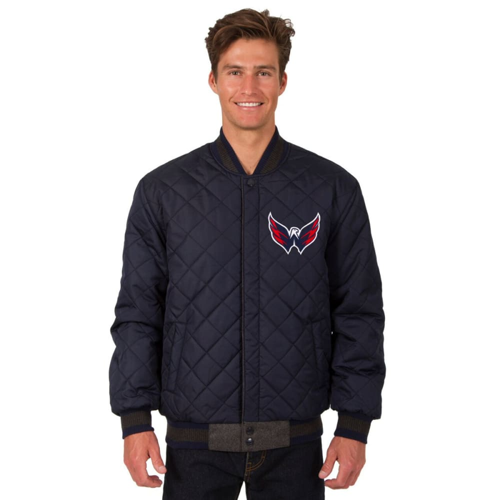 WASHINGTON CAPITALS Men's Wool and Leather Reversible One Logo Jacket - CHARCOAL -NAVY