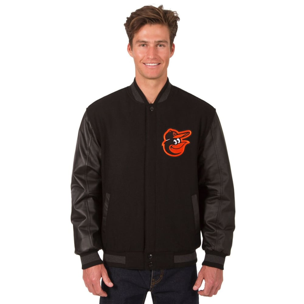 BALTIMORE ORIOLES Men's Wool and Leather Reversible One Logo Jacket - BLACK