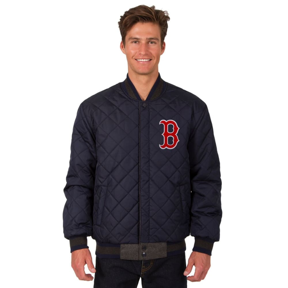 BOSTON RED SOX Men's Wool and Leather Reversible One Logo Jacket - CHARCOAL-NAVY