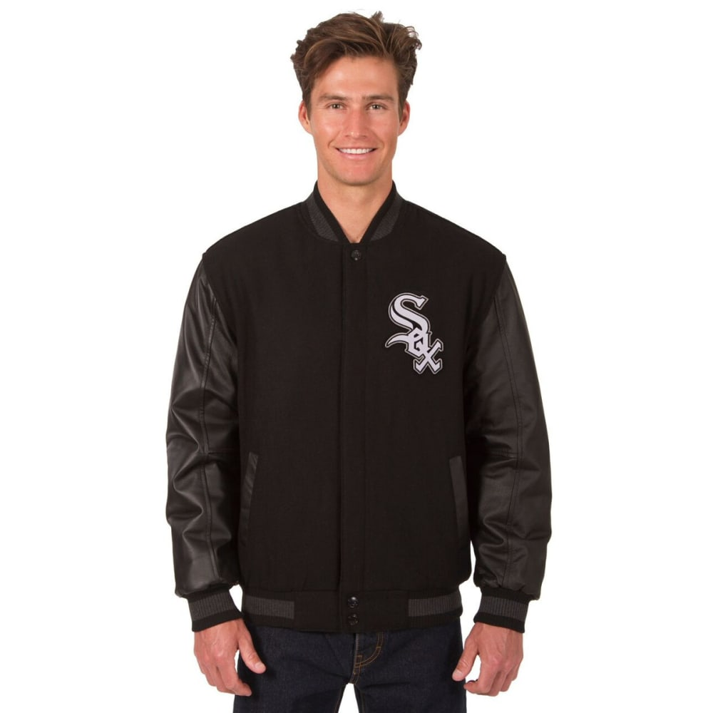 CHICAGO WHITE SOX Men's Wool and Leather Reversible One Logo Jacket - BLACK