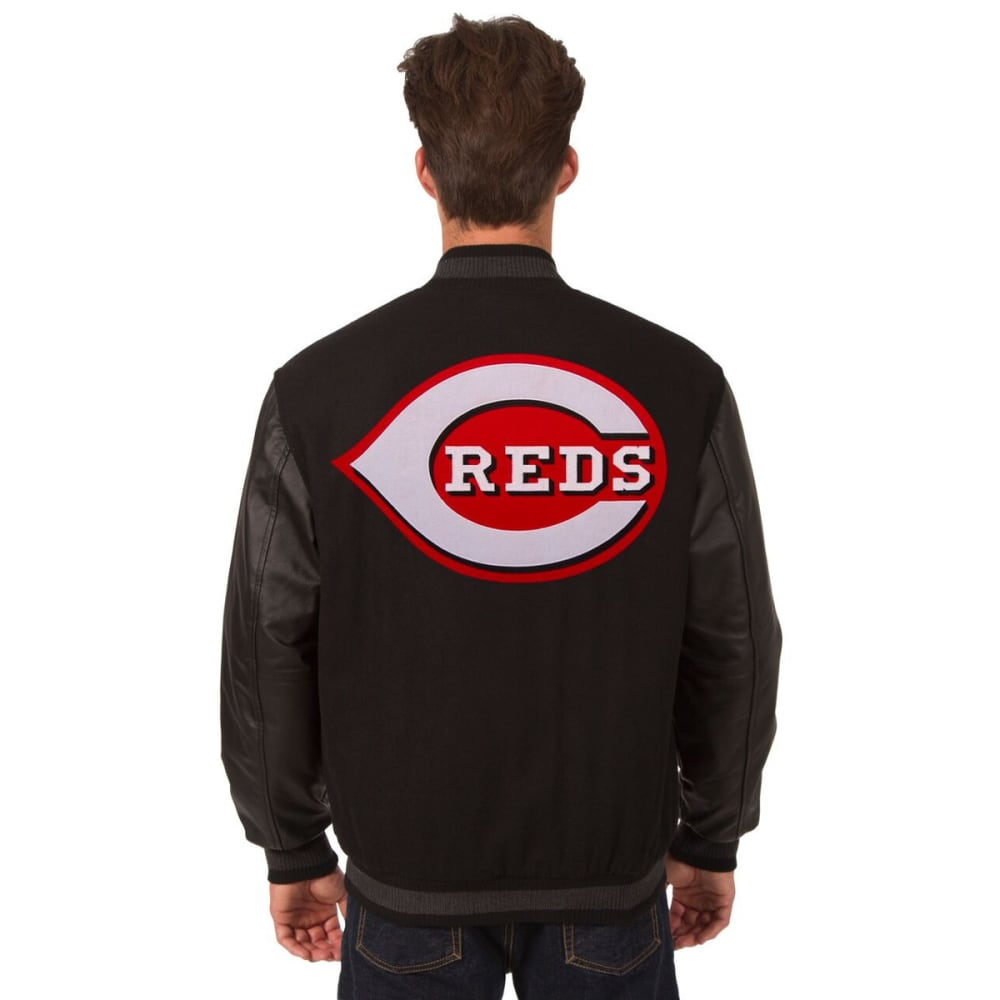 CINCINNATI REDS Men's Wool and Leather Reversible One Logo Jacket - BLACK