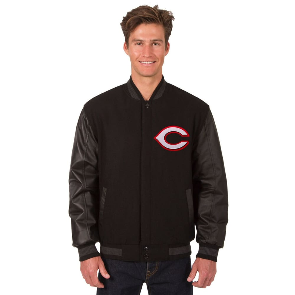 CINCINNATI REDS Men's Wool and Leather Reversible One Logo Jacket - BLACK
