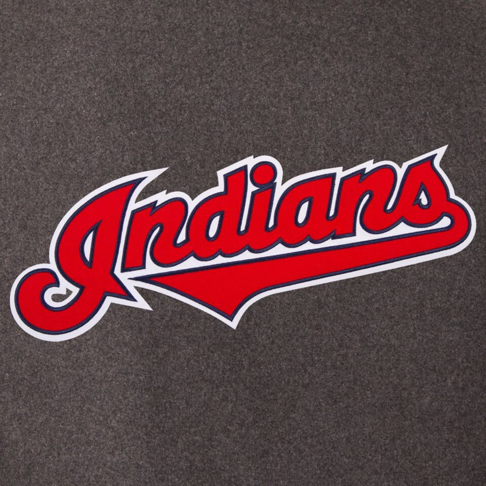 CLEVELAND INDIANS Men's Wool and Leather Reversible One Logo Jacket - CHARCOAL-NAVY