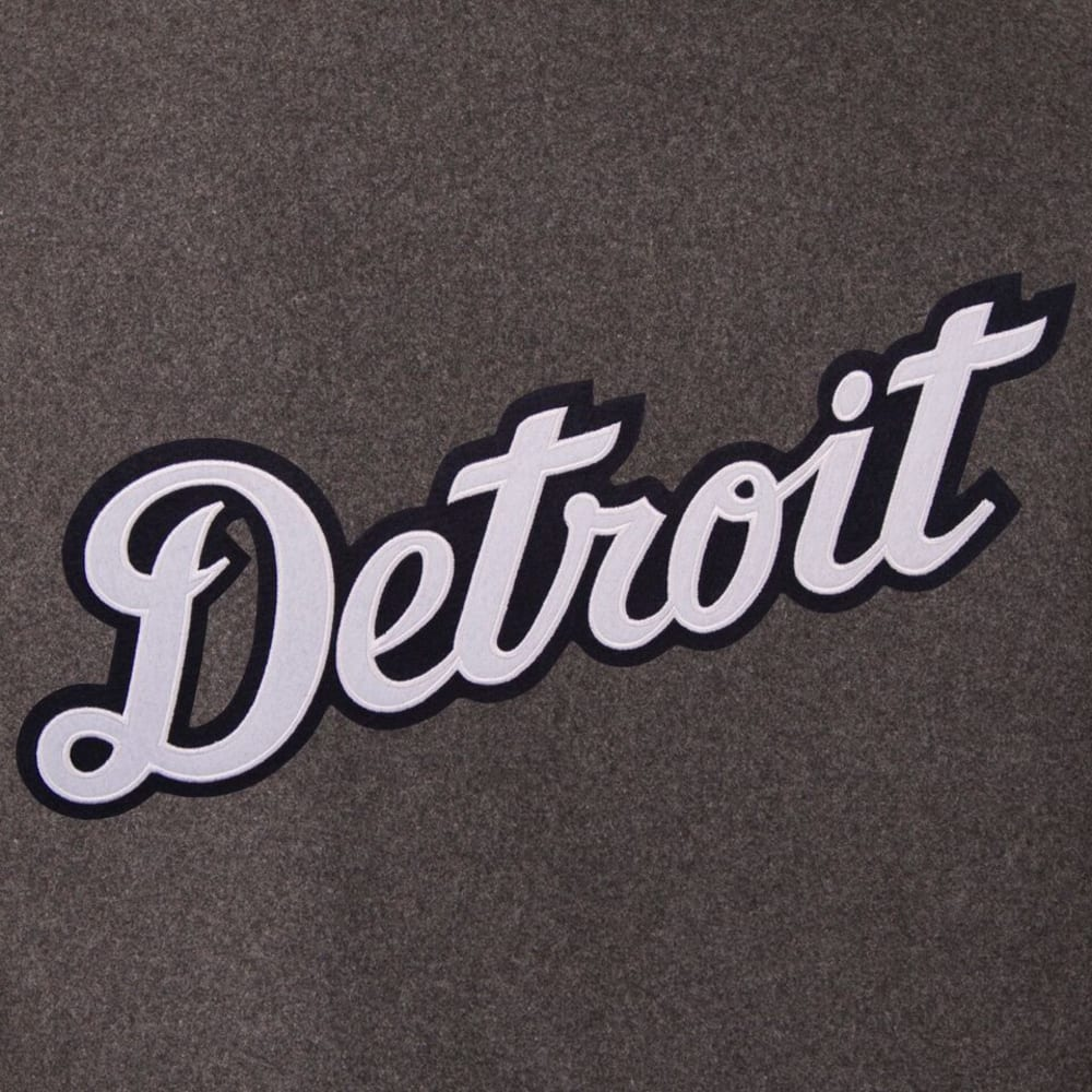DETROIT TIGERS Men's Wool and Leather Reversible One Logo Jacket - CHARCOAL-NAVY