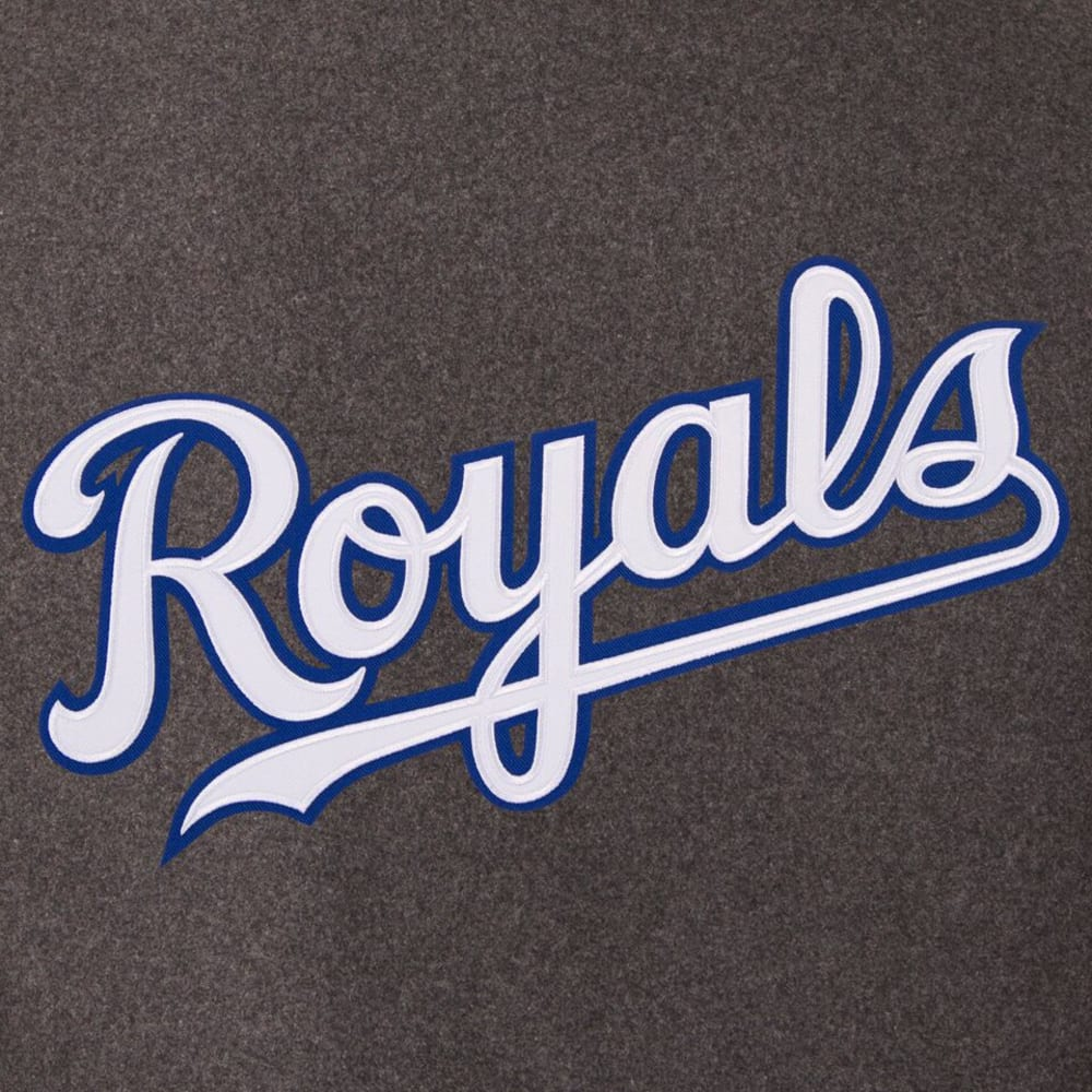 KANSAS CITY ROYALS Men's Wool and Leather Reversible One Logo Jacket - CHARCOAL-BLACK