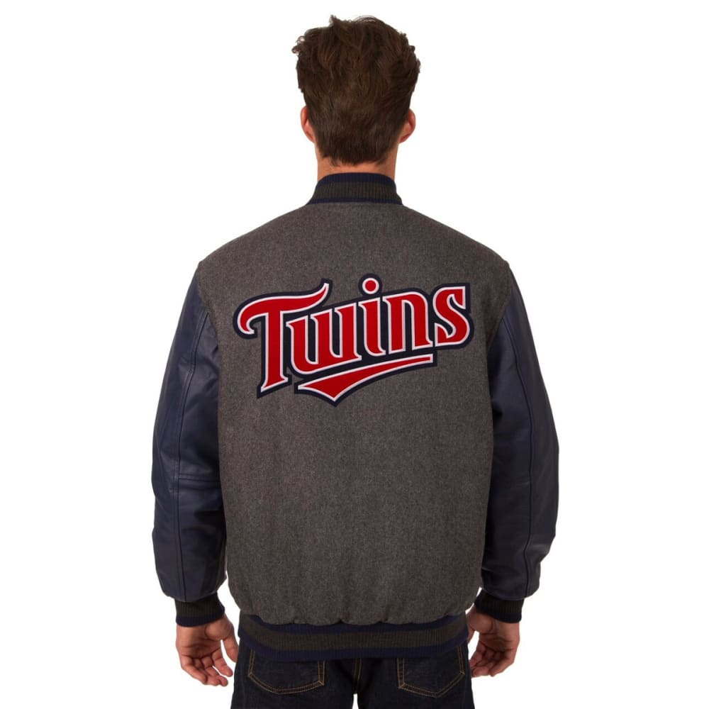 MINNESOTA TWINS Men's Wool and Leather Reversible One Logo Jacket - CHARCOAL-NAVY