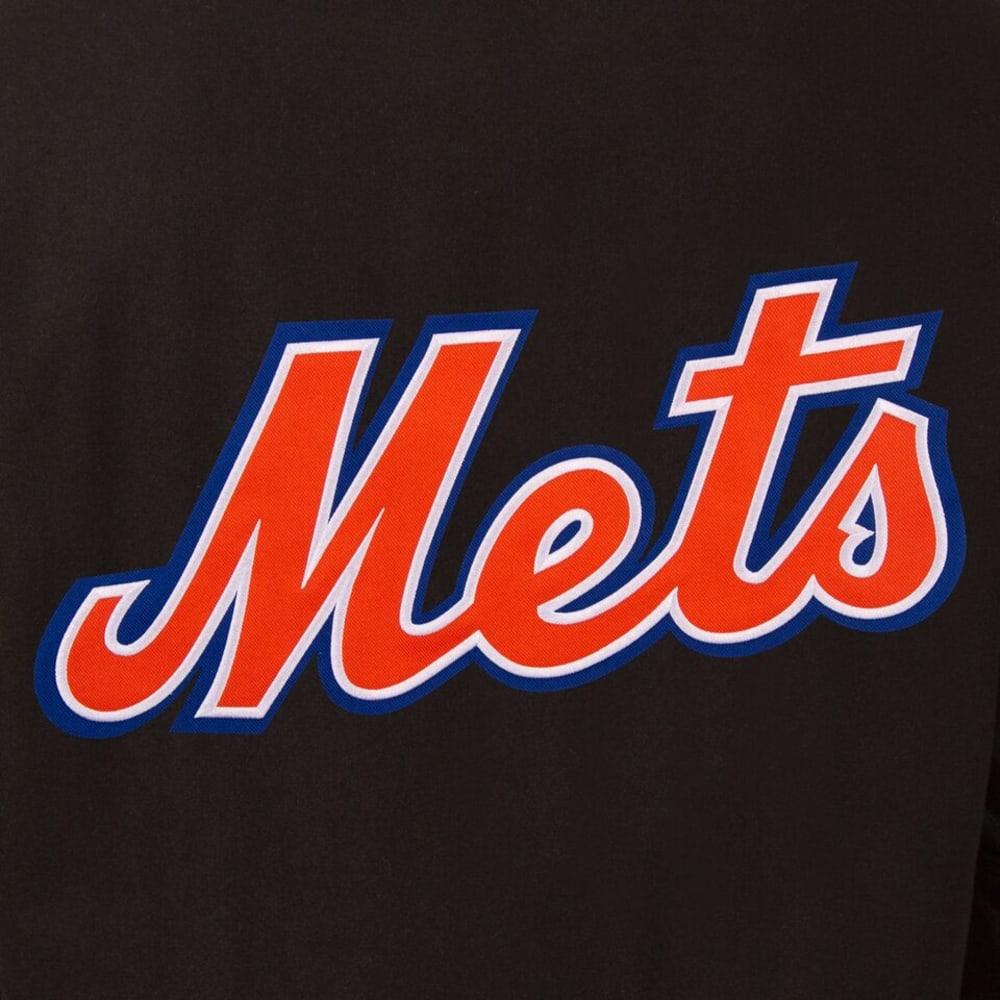 NEW YORK METS Men's Wool and Leather Reversible One Logo Jacket - BLACK