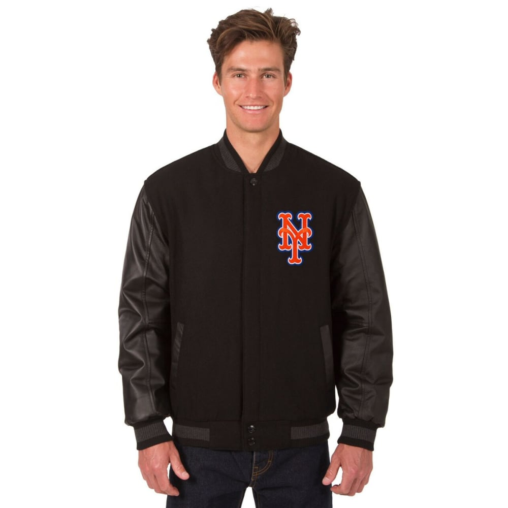 NEW YORK METS Men's Wool and Leather Reversible One Logo Jacket S