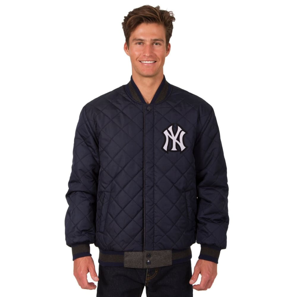 NEW YORK YANKEES Men's Wool and Leather Reversible One Logo Jacket - CHARCOAL-NAVY