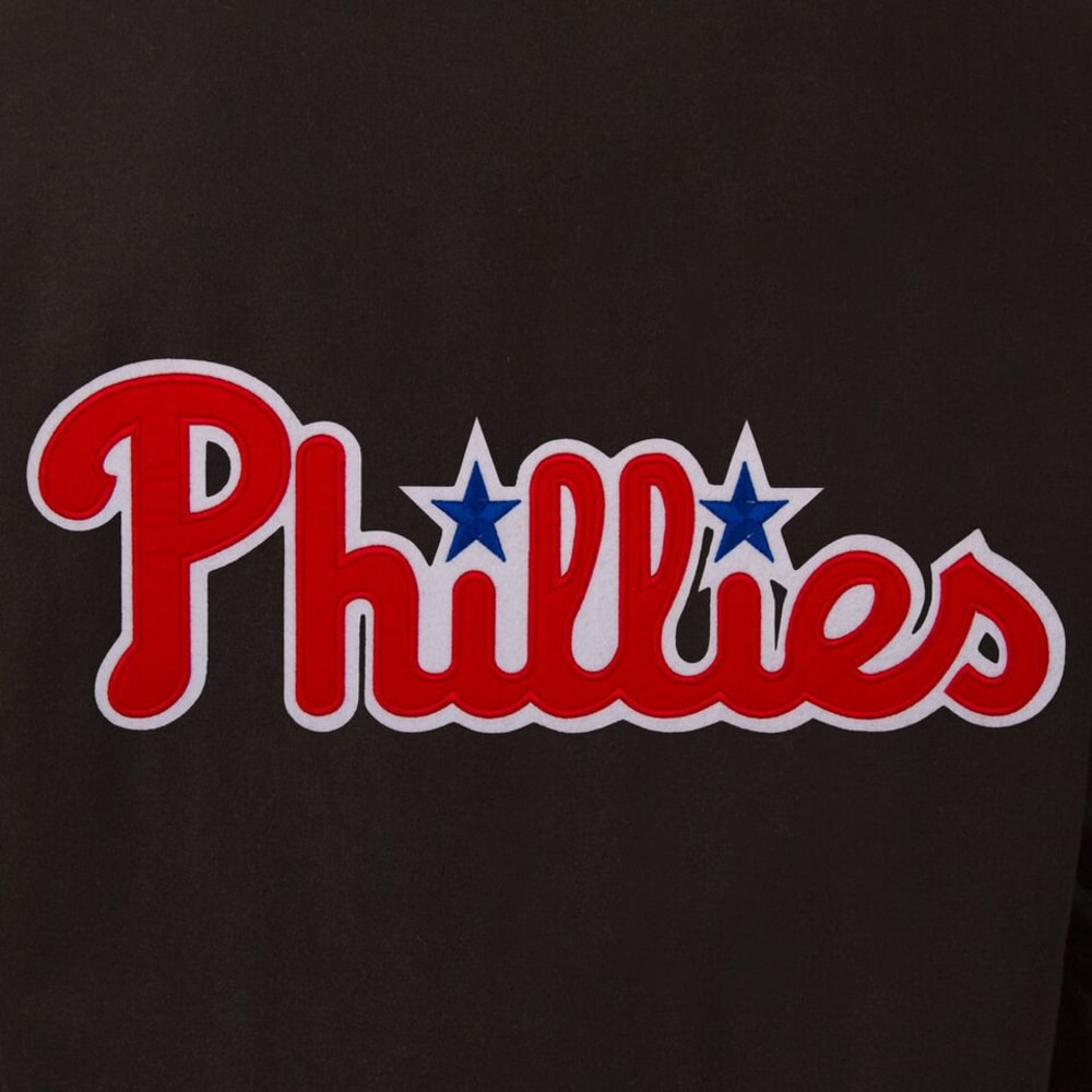 PHILADELPHIA PHILLIES Men's Wool and Leather Reversible One Logo Jacket - BLACK