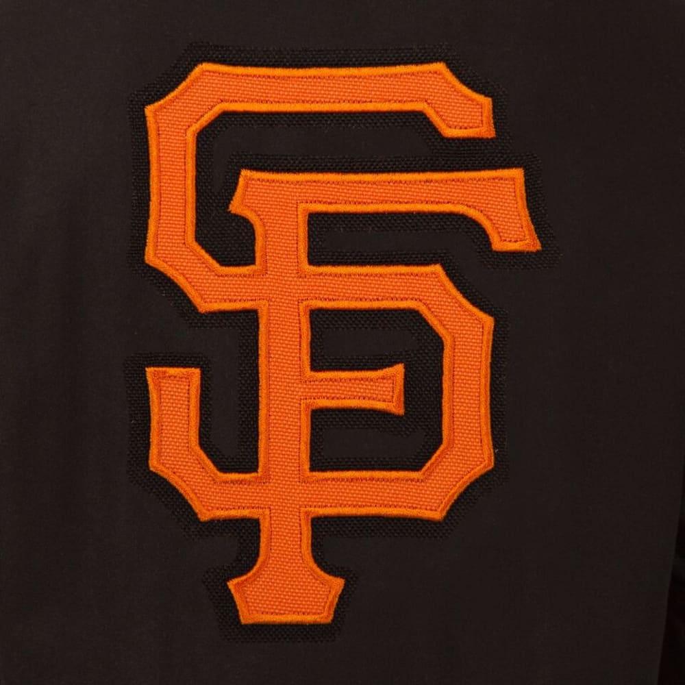 SAN FRANCISCO GIANTS Men's Wool and Leather Reversible One Logo Jacket - BLACK
