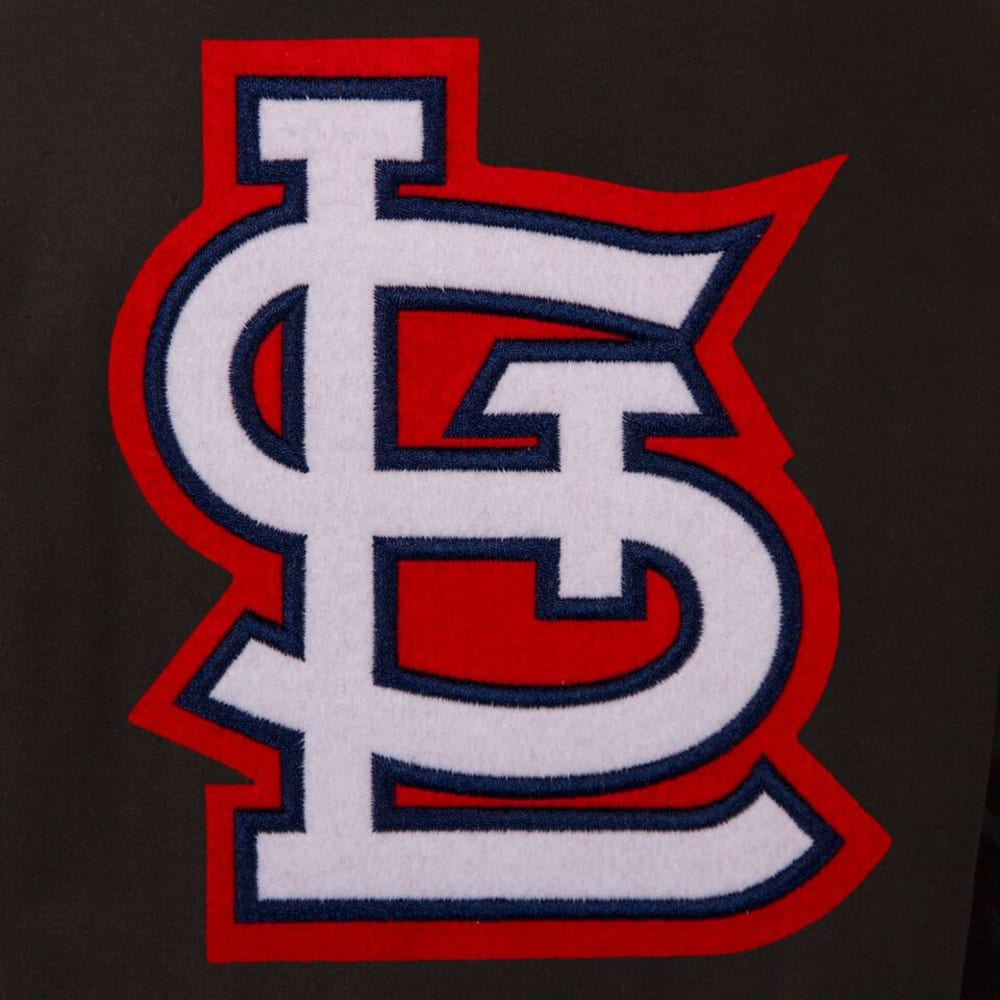 ST. LOUIS CARDINALS Men's Wool and Leather Reversible One Logo Jacket - BLACK