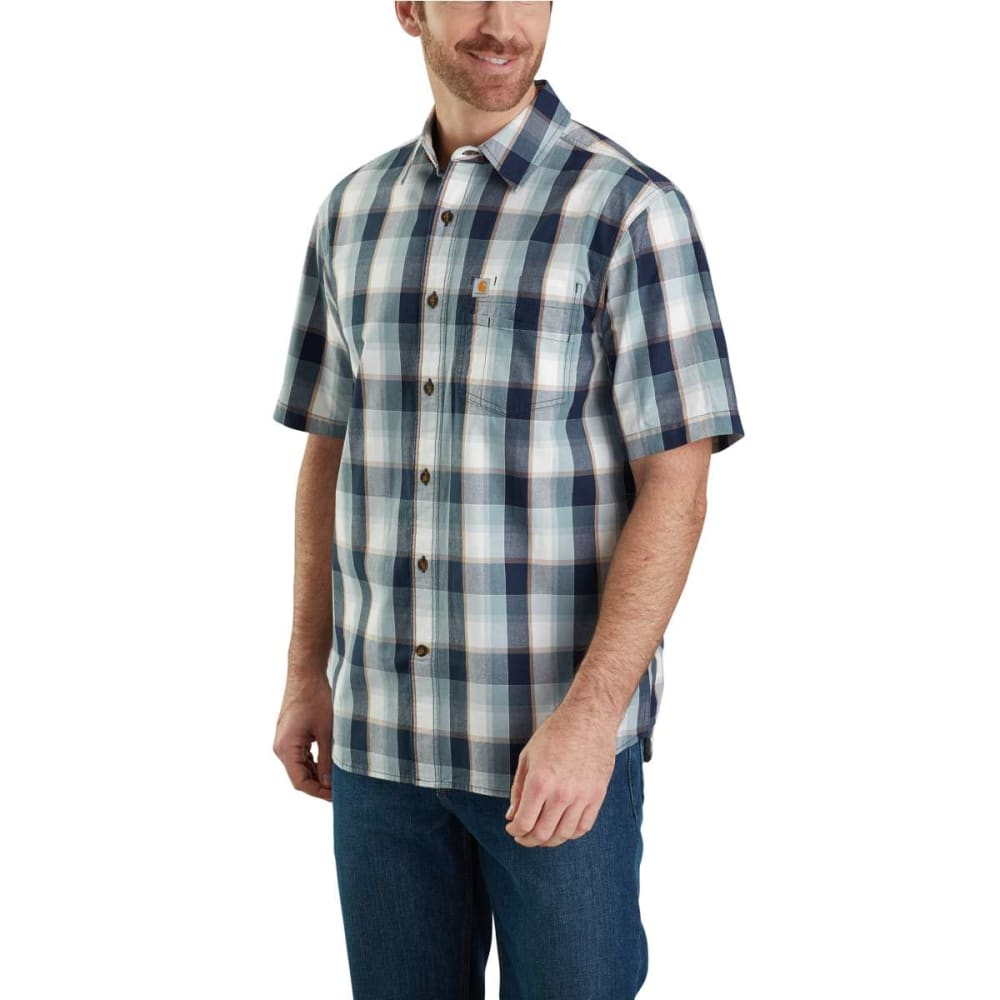 Carhartt Men's Essential Plaid Open Collar Button Down Short-Sleeve Shirt - Blue, M