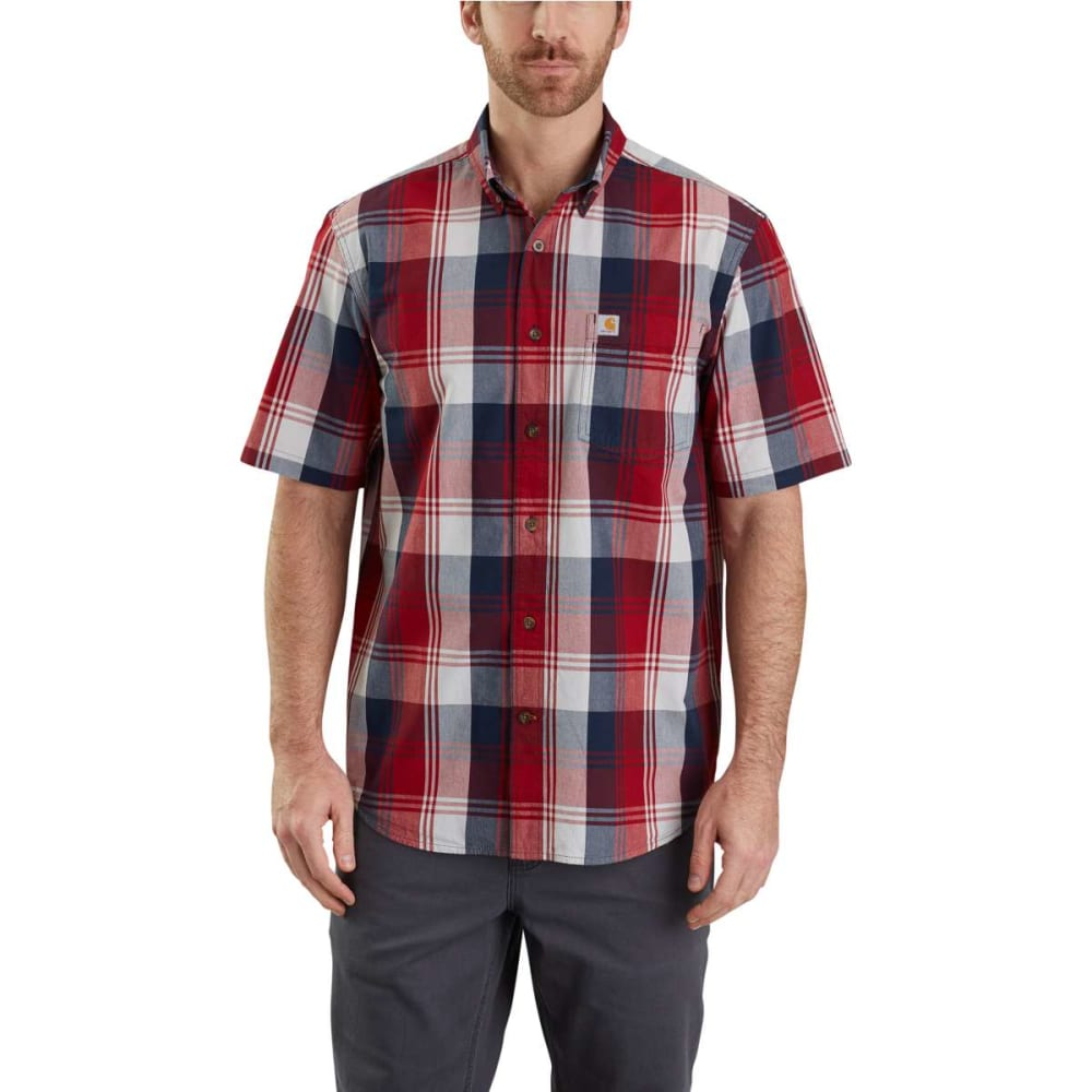 Carhartt Men's Essential Plaid Button Down Short-Sleeve Shirt - Red, XL