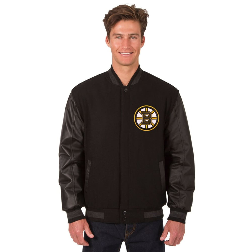 BOSTON BRUINS Men's Wool and Leather Reversible Logo(2) Jacket - BLACK