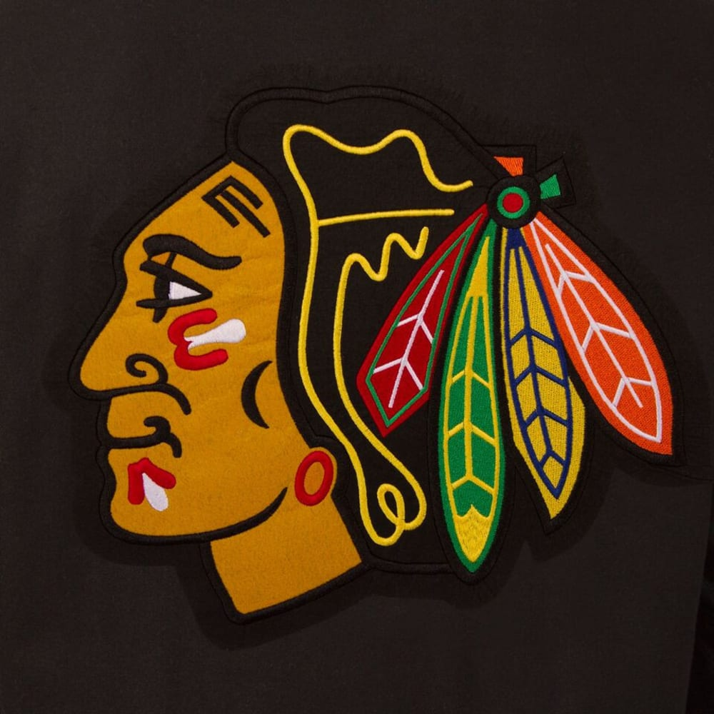 CHICAGO BLACKHAWKS Men's Wool and Leather Reversible Logo(2) Jacket - BLACK