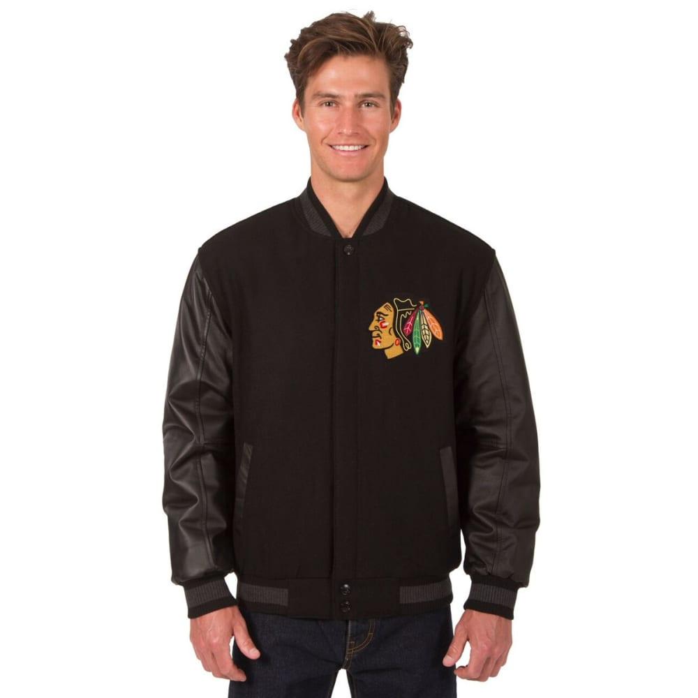 CHICAGO BLACKHAWKS Men's Wool and Leather Reversible Logo(2) Jacket - BLACK