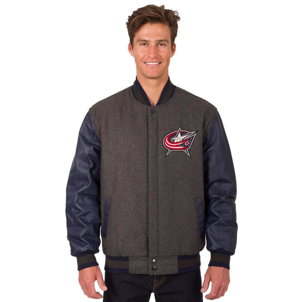 COLUMBUS BLUE JACKETS Men's Wool and Leather Reversible Logo(2) Jacket - CHARCOAL-NAVY