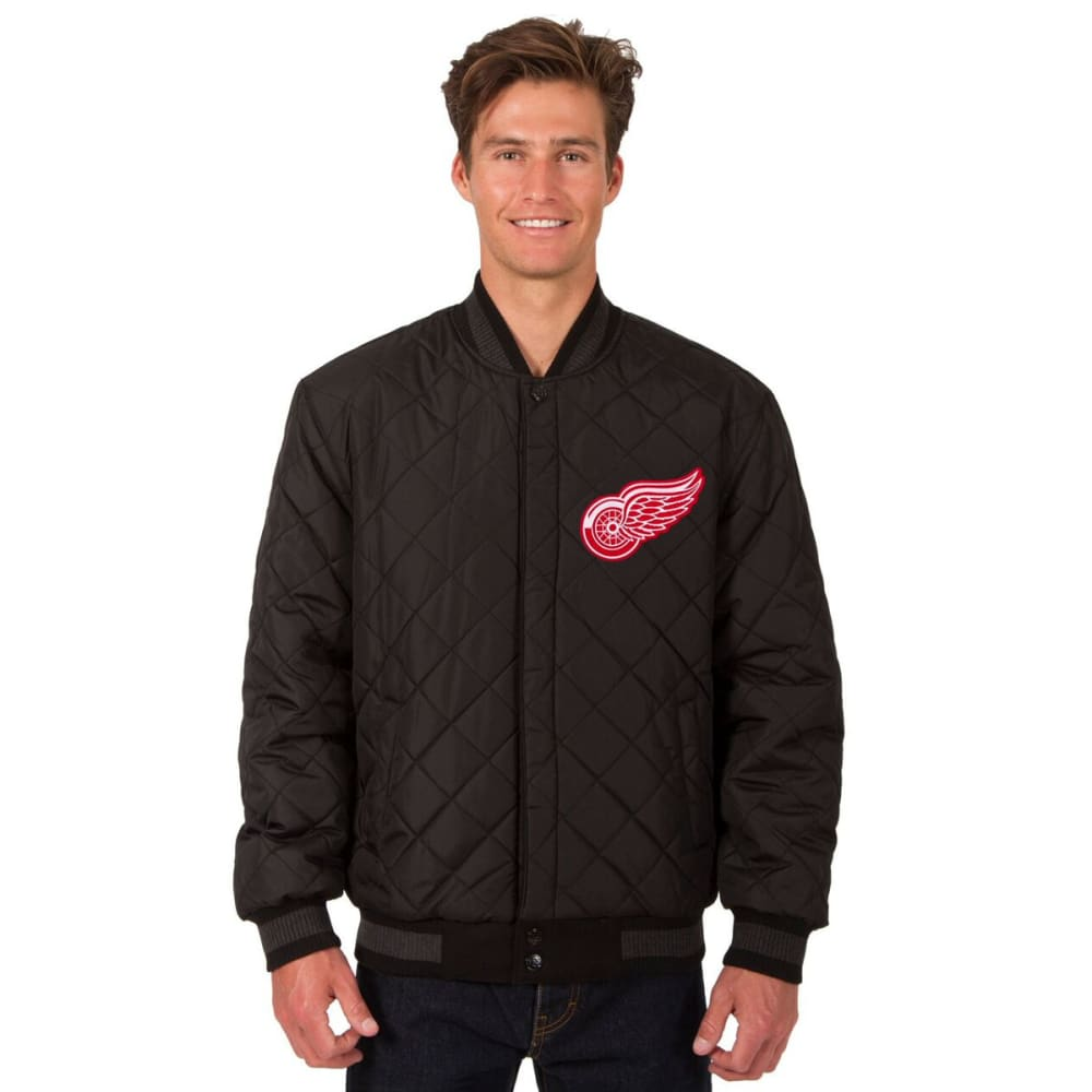 DETROIT RED WINGS Men's Wool and Leather Reversible Logo(2) Jacket - BLACK