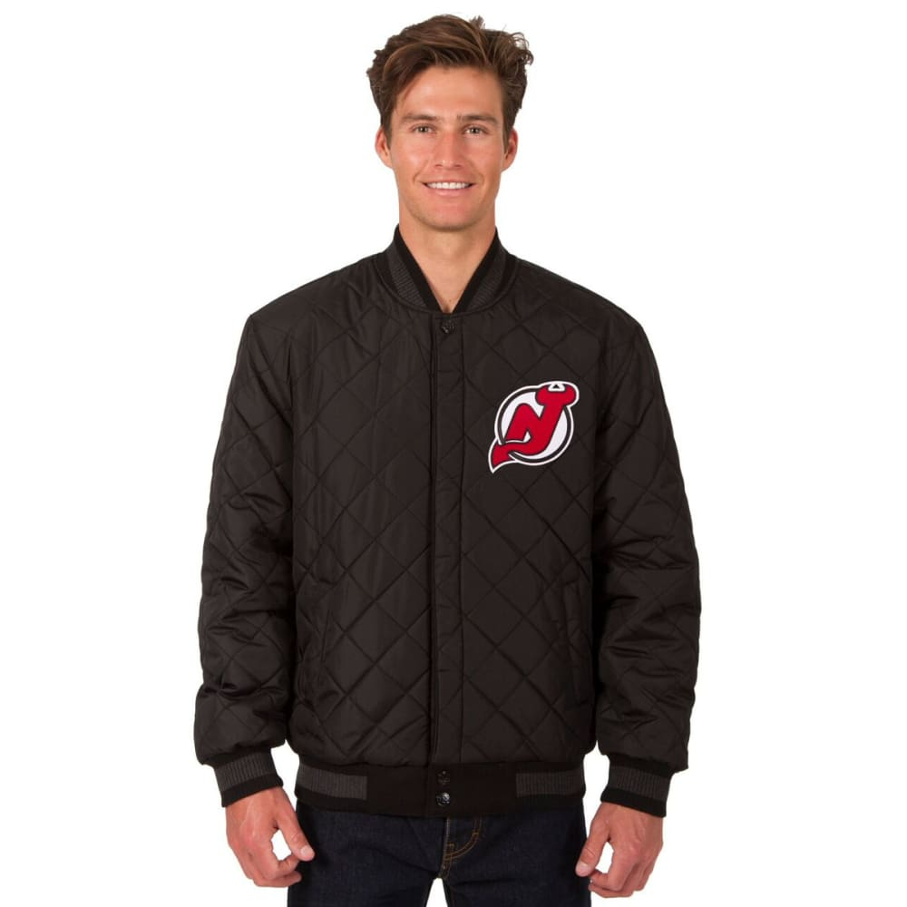 NEW JERSEY DEVILS Men's Wool and Leather Reversible Logo(2) Jacket - BLACK