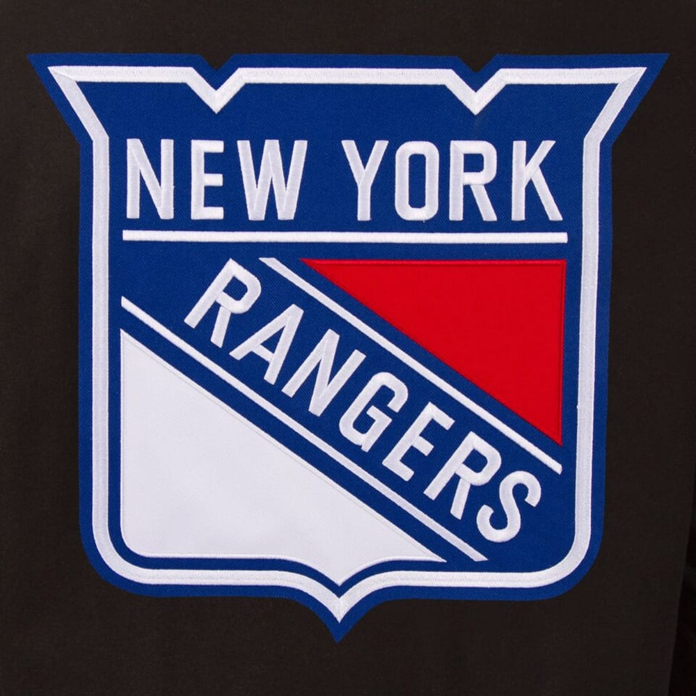 NEW YORK RANGERS Men's Wool and Leather Reversible Logo(2) Jacket - BLACK