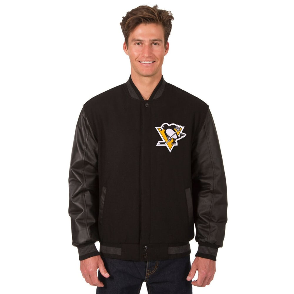 PITTSBURGH PENGUINS Men's Wool and Leather Reversible Logo(2) Jacket - BLACK