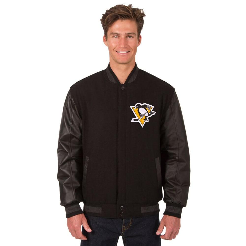 PITTSBURGH PENGUINS Men's Wool and Leather Reversible Logo(2) Jacket - BLACK