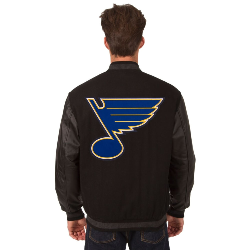ST. LOUIS BLUES Men's Wool and Leather Reversible Logo(2) Jacket - BLACK