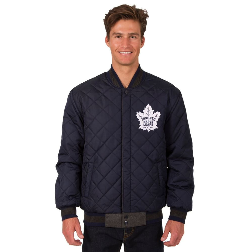 TORONTO MAPLE LEAFS Men's Wool and Leather Reversible Logo(2) Jacket - CHARCOAL-NAVY