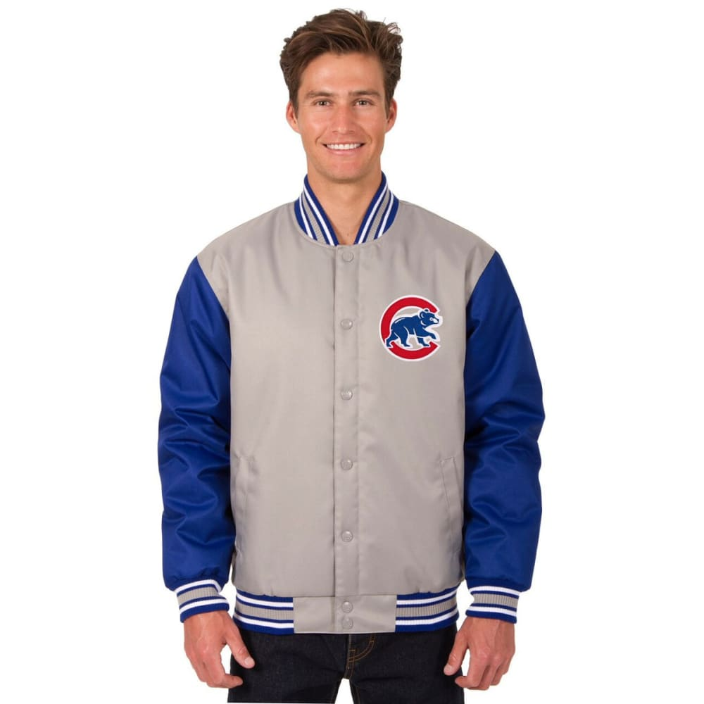CHICAGO CUBS Men's Poly Twill Logo Jacket - GRAY-ROYAL