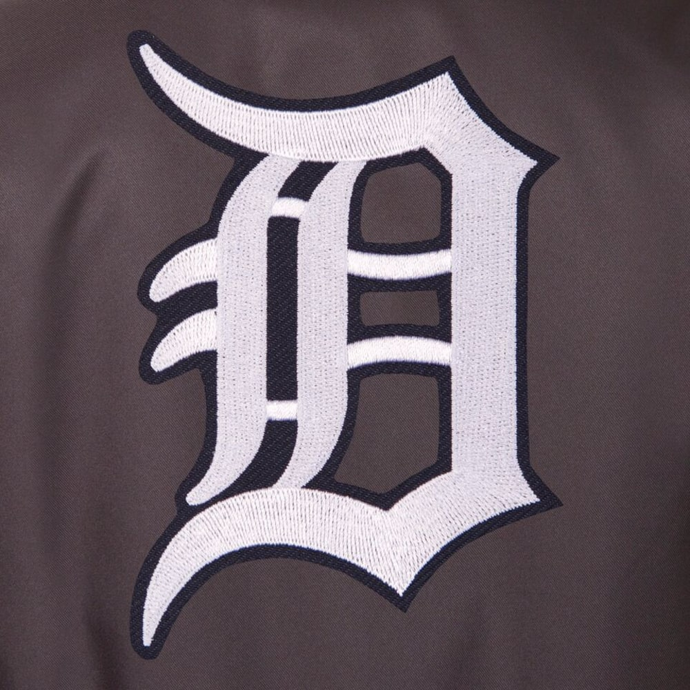 DETROIT TIGERS Men's Poly Twill Logo Jacket - CHARCOAL
