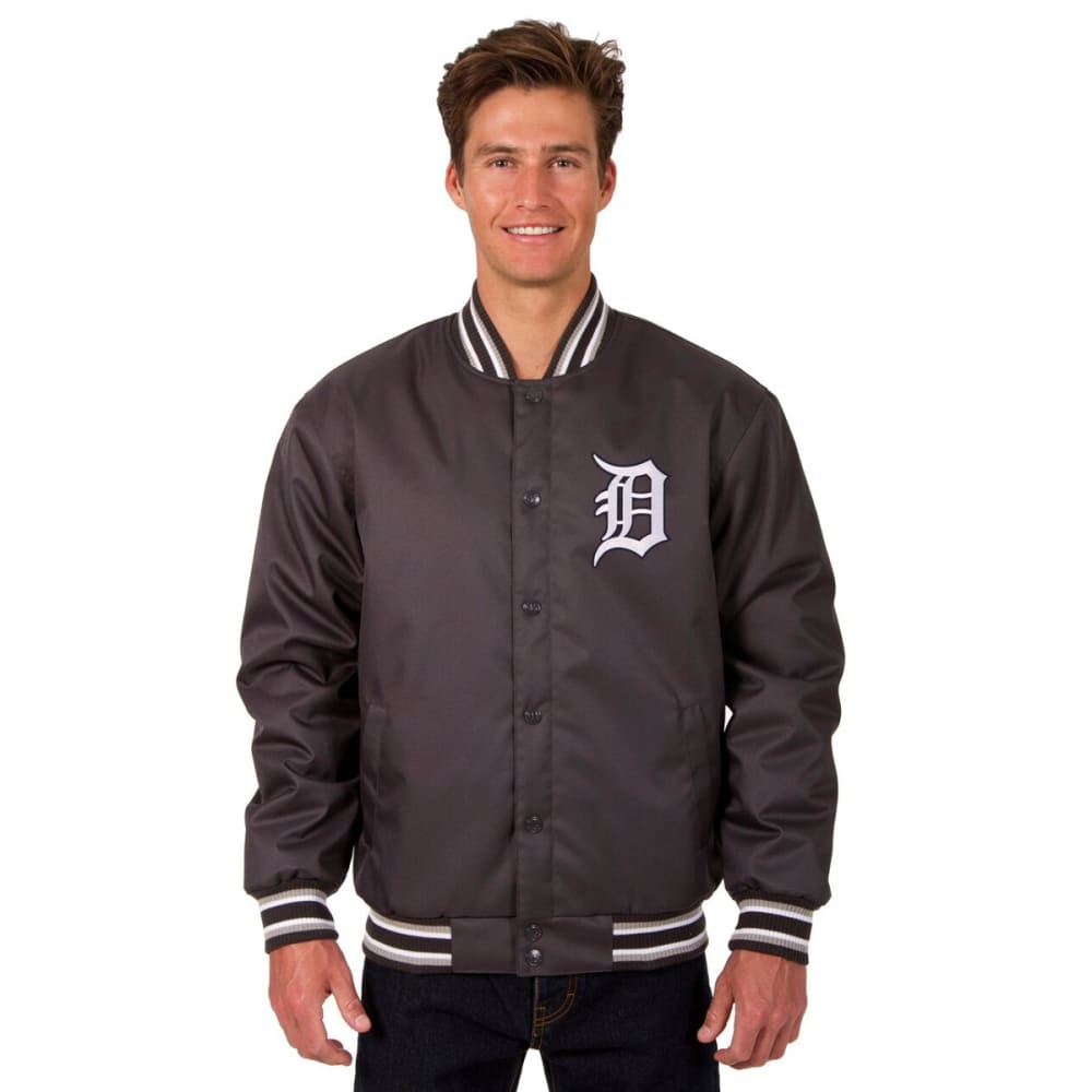 DETROIT TIGERS Men's Poly Twill Logo Jacket - CHARCOAL