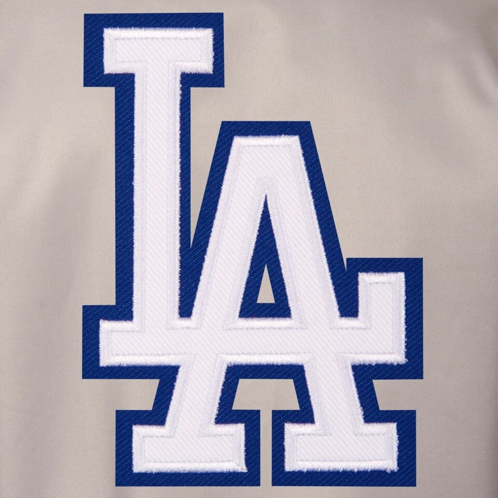 LOS ANGELES DODGERS Men's Poly Twill Logo Jacket - GRAY-ROYAL