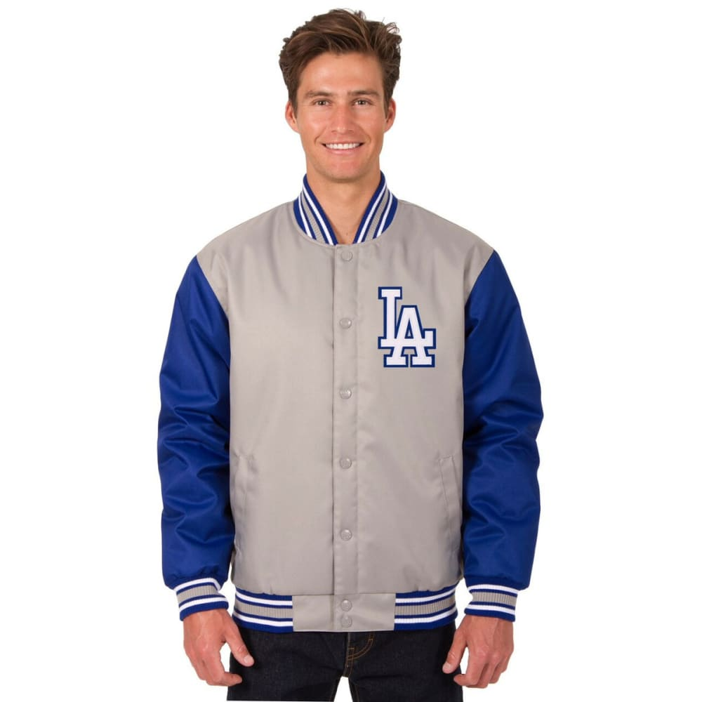 LOS ANGELES DODGERS Men's Poly Twill Logo Jacket - GRAY-ROYAL