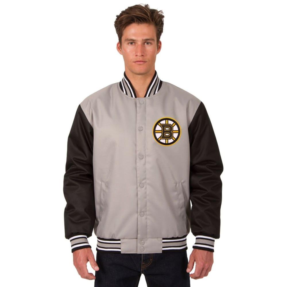 BOSTON BRUINS Men's Poly Twill Logo Jacket - GRAY-BLACK