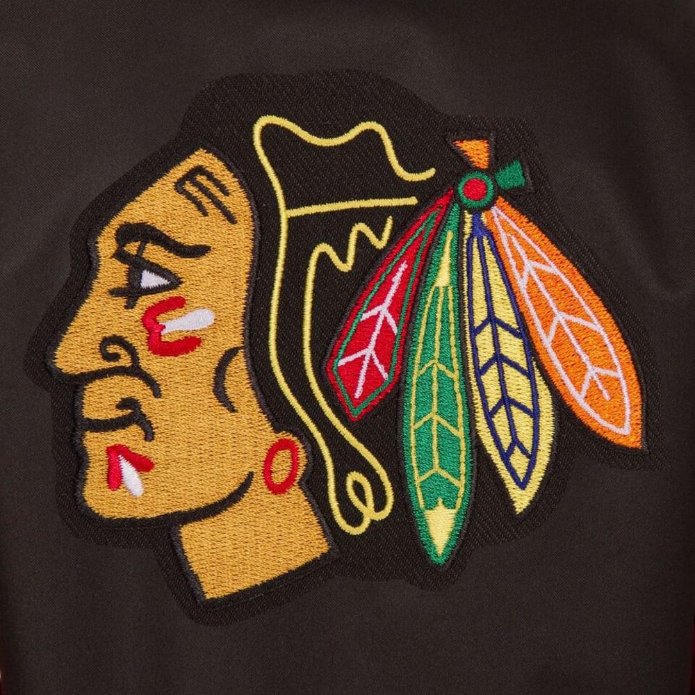 CHICAGO BLACKHAWKS Men's Poly Twill Logo Jacket - BLACK-RED