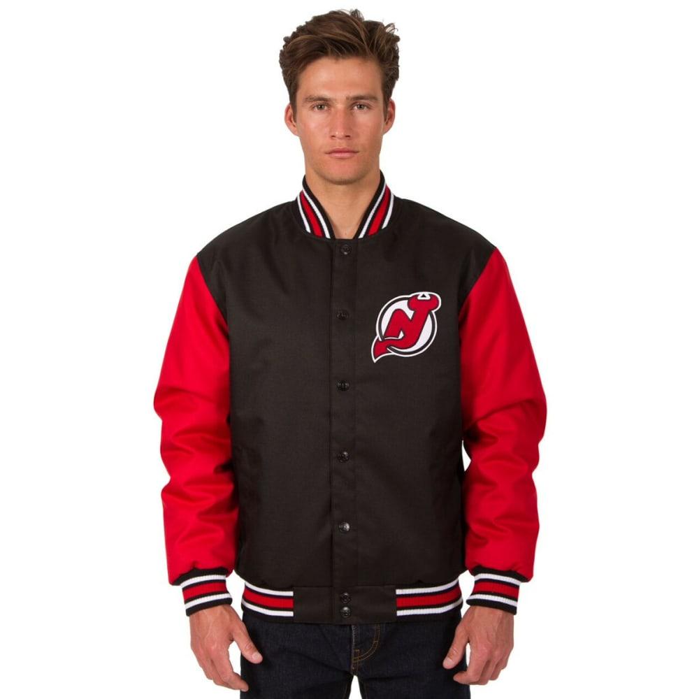 NEW JERSEY DEVIL Men's Poly Twill Logo Jacket - BLACK-RED