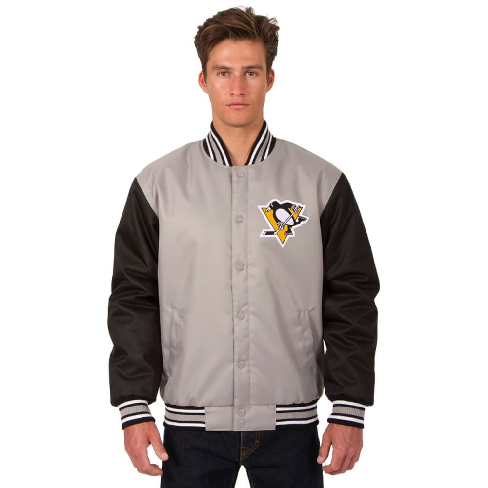 PITTSBURGH PENGUINS Men's Poly Twill Logo Jacket - GRAY-BLACK
