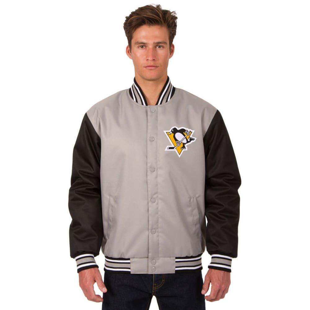 PITTSBURGH PENGUINS Men's Poly Twill Logo Jacket - GRAY-BLACK