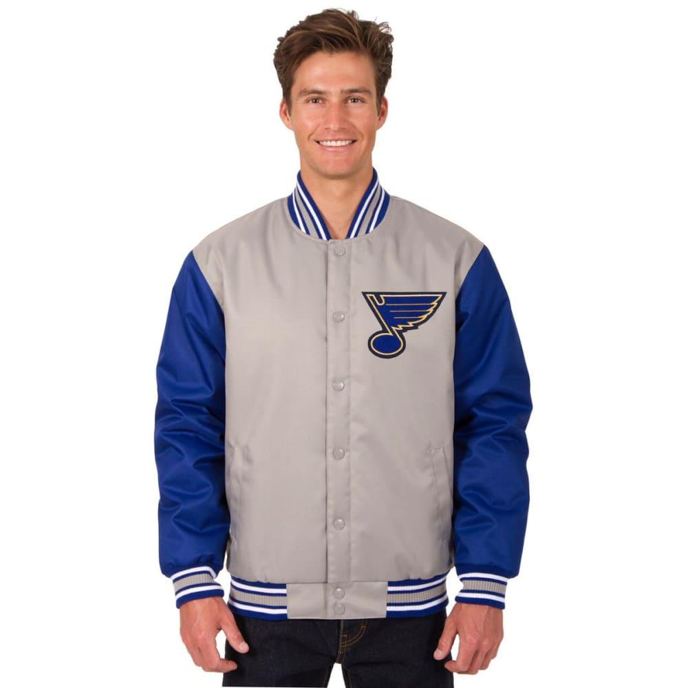 ST. LOUIS BLUES Men's Poly Twill Logo Jacket - GRAY-ROYAL