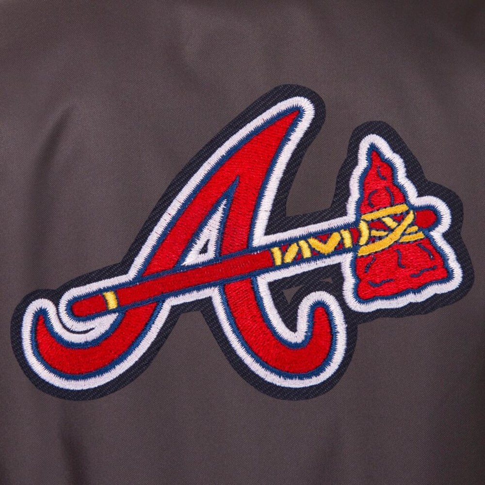 ATLANTA BRAVES Men's Poly Twill Embroidered Jacket - CHARCOAL