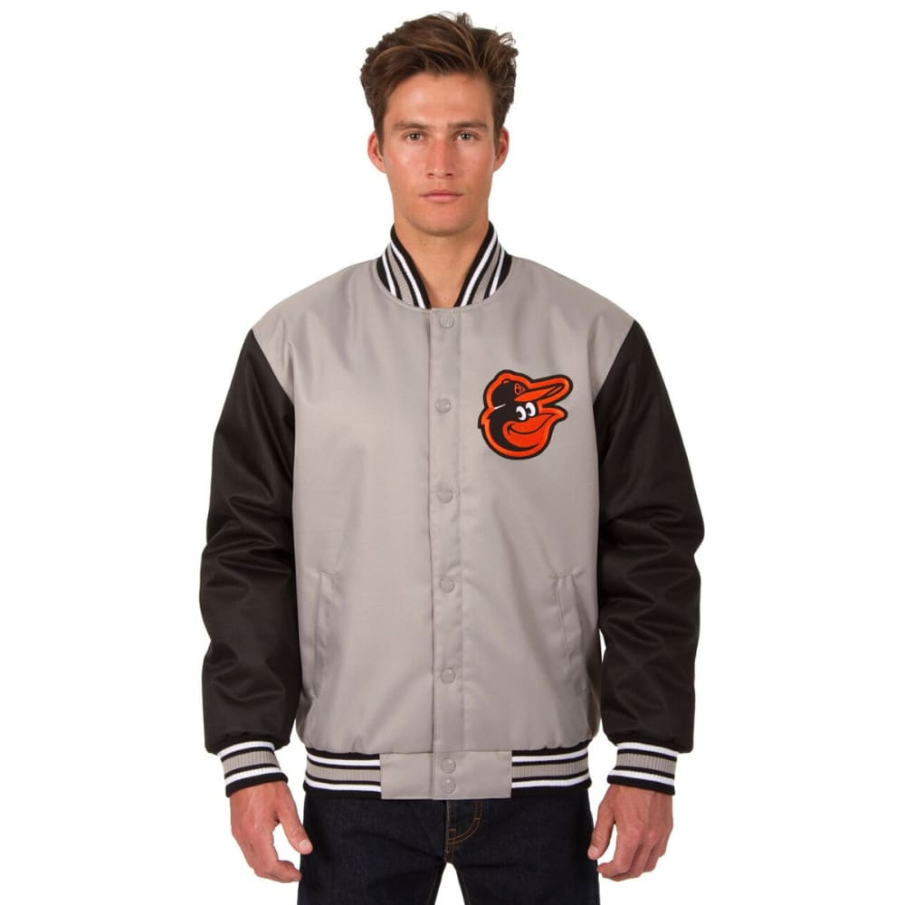 BALTIMORE ORIOLES Men's Poly Twill Embroidered Jacket - GRAY-BLACK