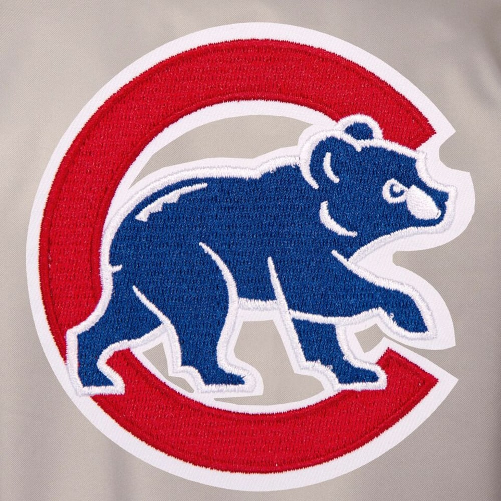 CHICAGO CUBS Men's Poly Twill Embroidered Jacket - GRAY-ROYAL