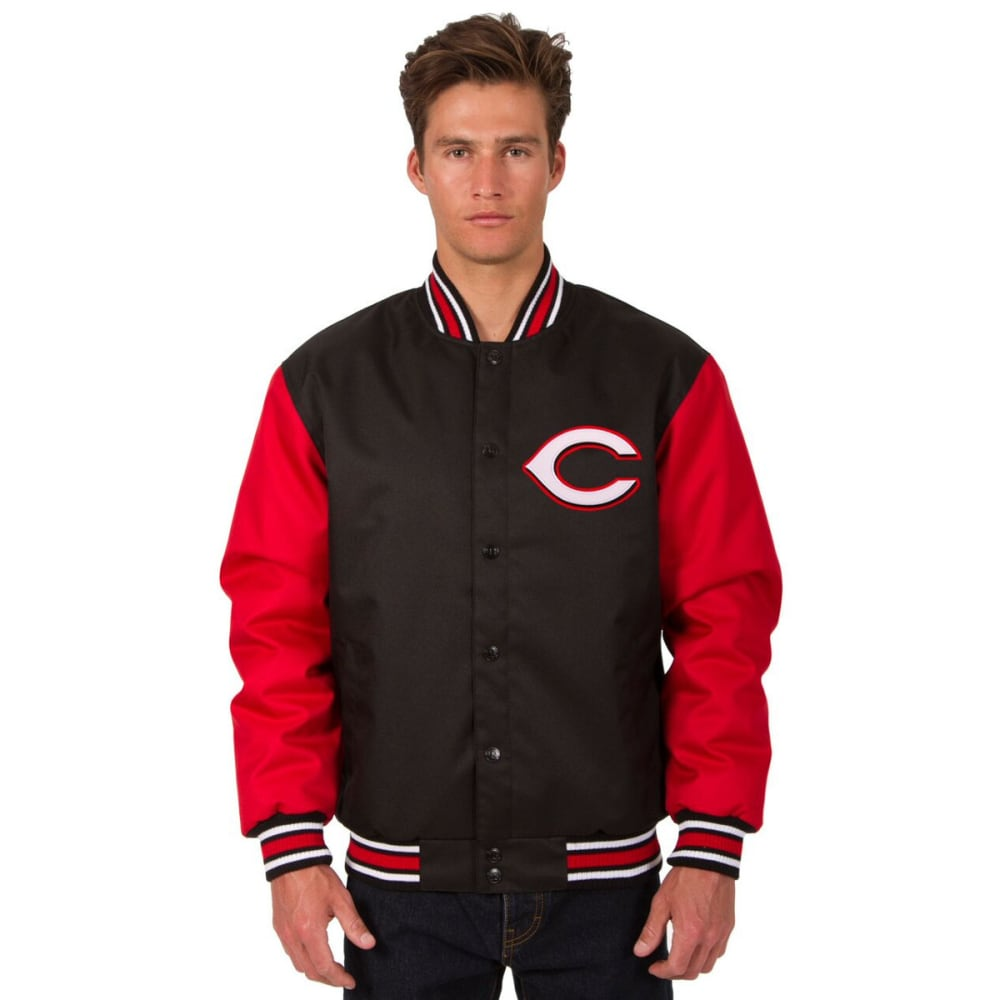 CINCINNATI REDS Men's Poly Twill Embroidered Jacket - BLACK-RED
