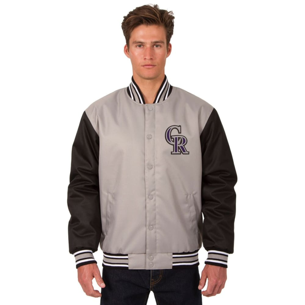 COLORADO ROCKIES Men's Poly Twill Embroidered Jacket - GRAY-BLACK